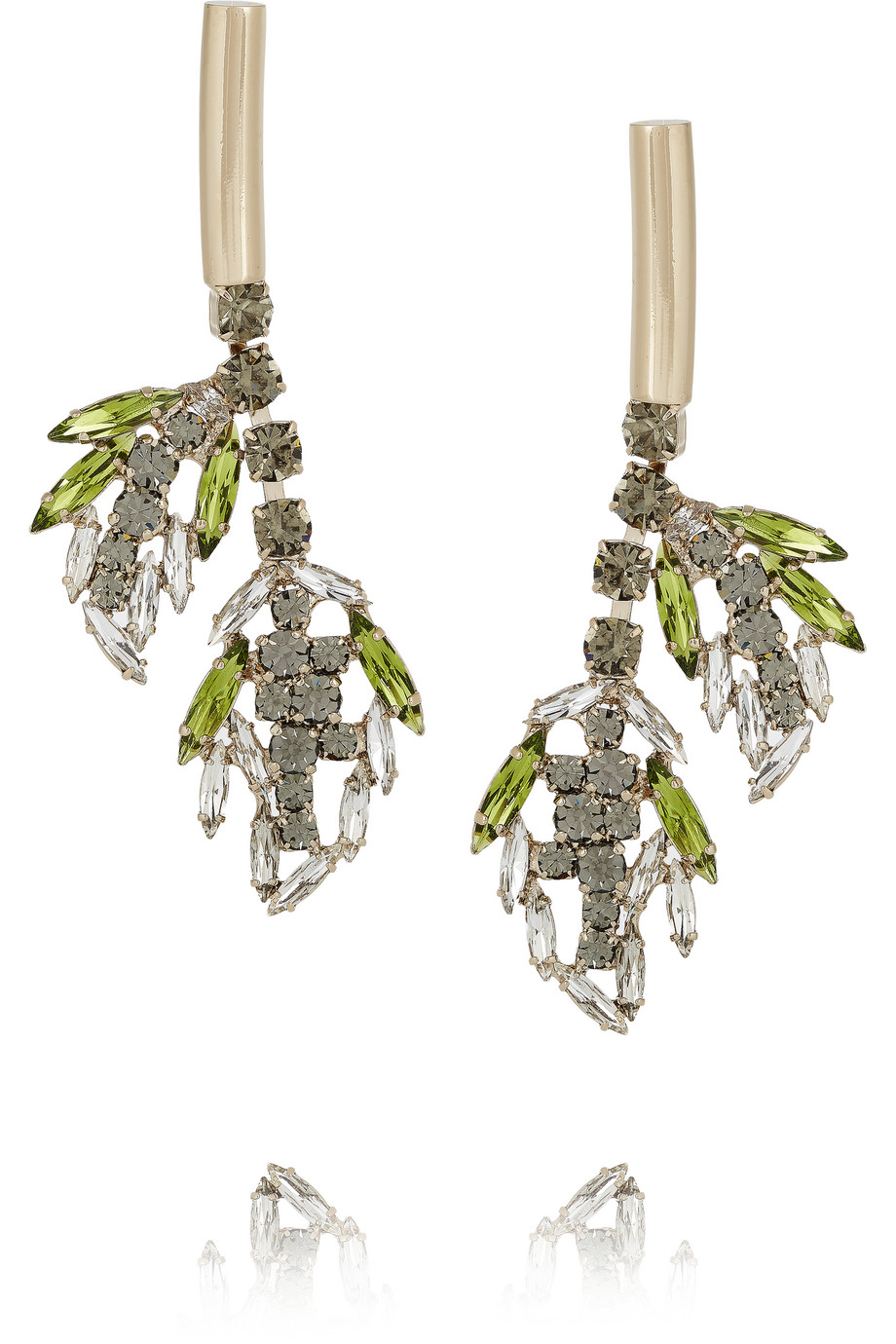 Marni Gold-Plated Crystal Earrings, Green/Silver, Women's