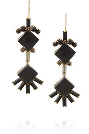 Gold-plated, horn and crystal earrings