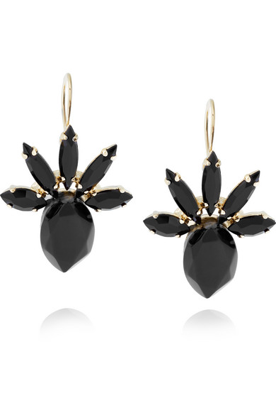 Marni - Gold-plated, Horn And Crystal Earrings - Black