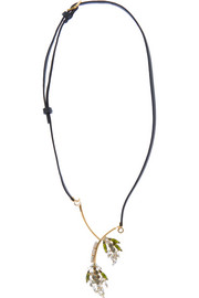 Marni Gold-plated, crystal and leather necklace
