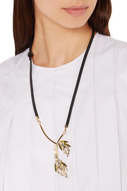 Gold-plated, crystal and leather necklace