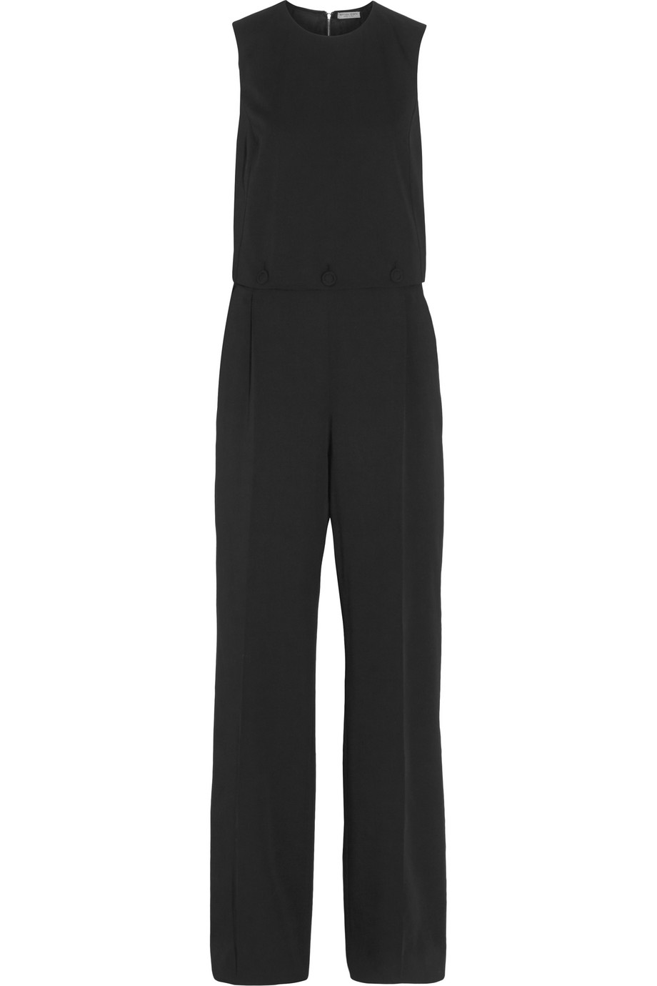 Bottega Veneta Button-Detailed Wool-Gabardine Jumpsuit, Black, Women's, Size: 48