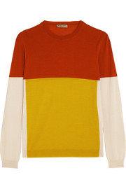 Color-block merino wool sweater