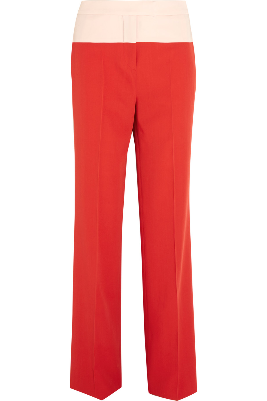 Bottega Veneta Two-Tone Wool-Gabardine Wide-Leg Pants, Red/Pastel Pink, Women's, Size: 38
