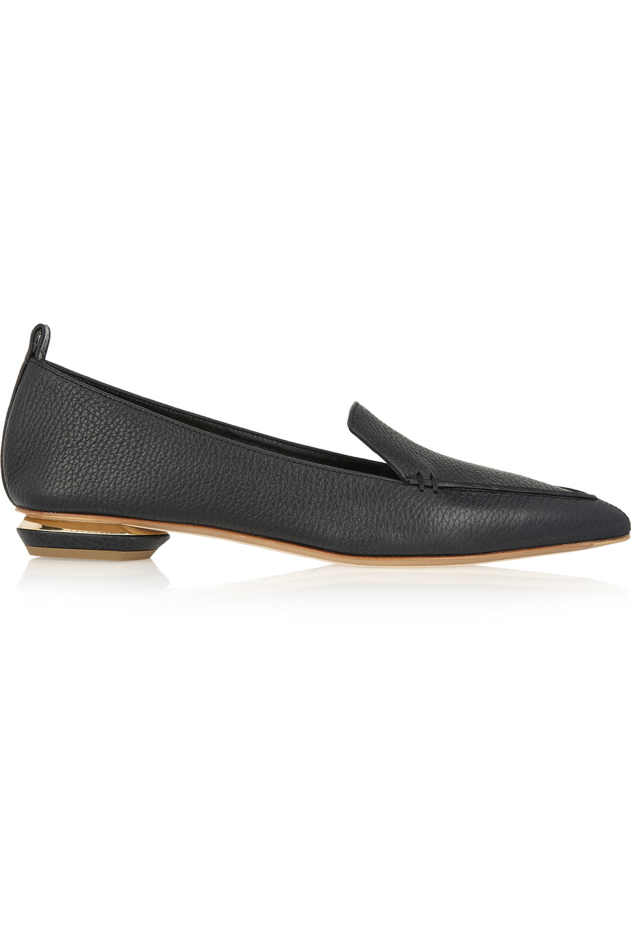 Beya Textured-Leather Point-Toe Flats, Nicholas Kirkwood, Black, Women's US Size: 6, Size: 36.5