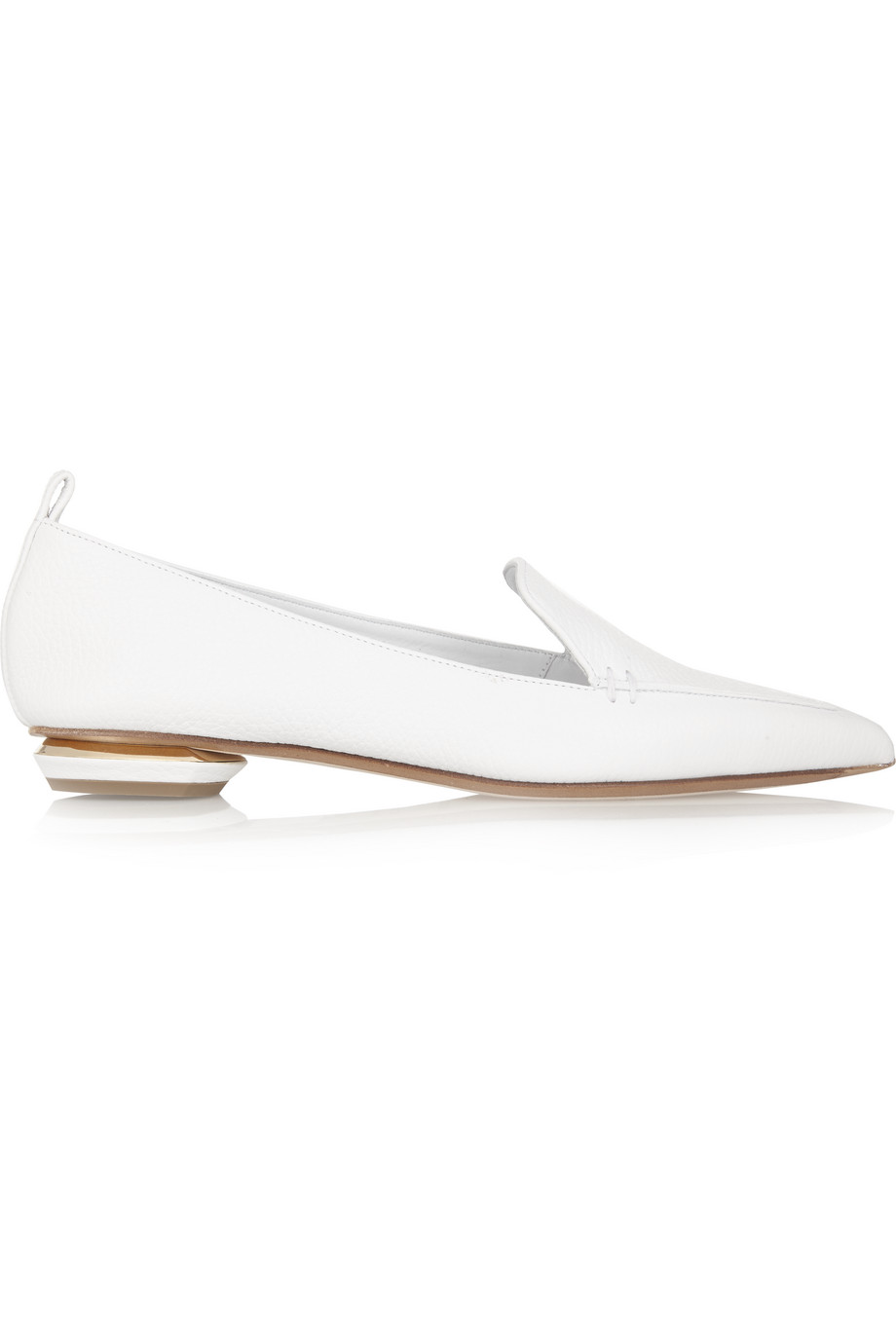 Beya Leather Point-Toe Flats, Nicholas Kirkwood, White, Women's US Size: 4.5, Size: 35