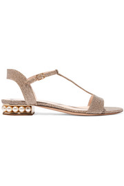 Embellished textured-lamé sandals