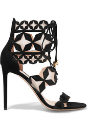 Stella embossed cutout suede and mesh sandals