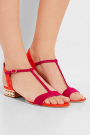 Casati faux pearl-embellished suede sandals