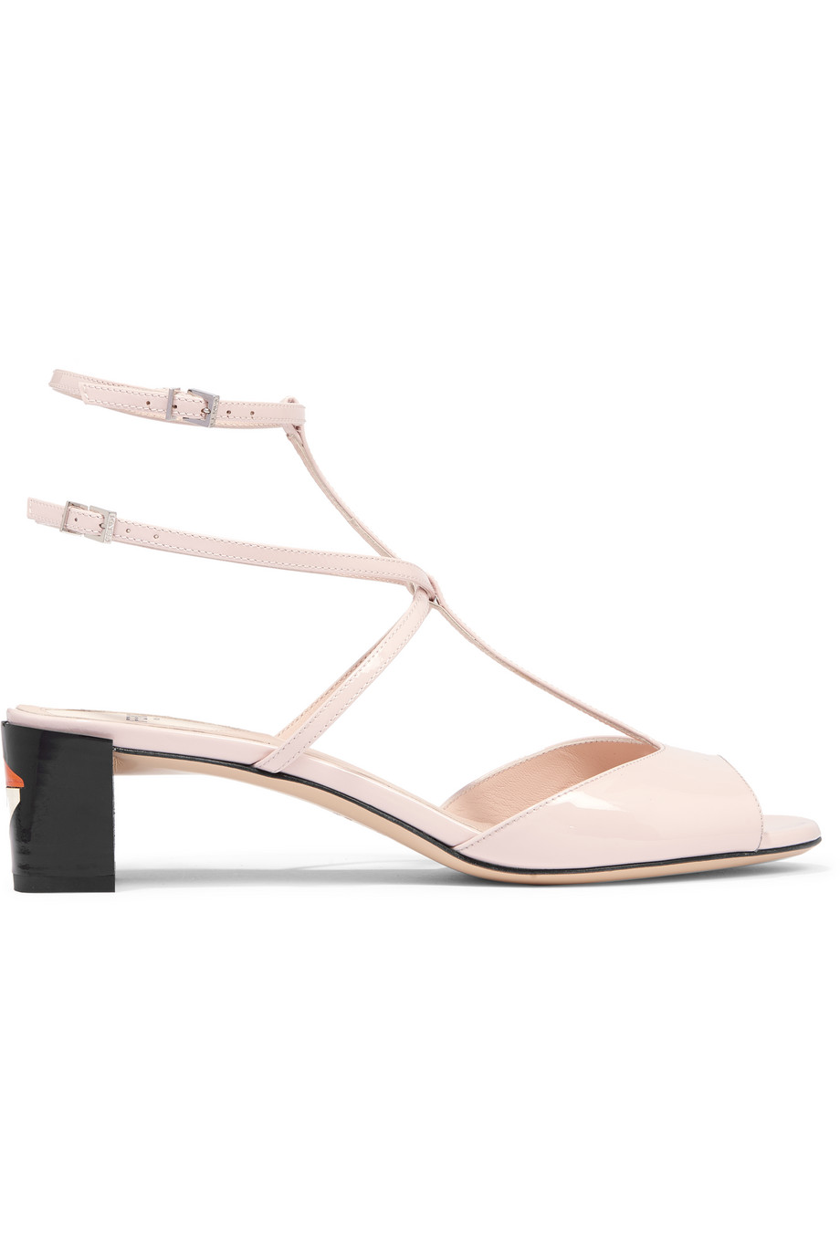 Fendi Patent-Leather Sandals, Pastel Pink, Women's US Size: 4.5, Size: 35