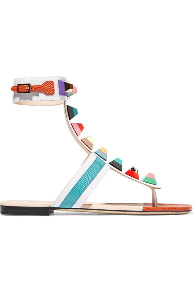 0105d332509 Fendi. Embellished leather sandals
