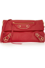 Holiday Collection Envelope textured-leather shoulder bag