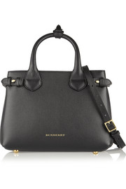 Burberry London London small checked canvas-paneled textured-leather shoulder bag