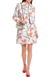 Fendi Bird of Paradise printed matelassé satin mini dress