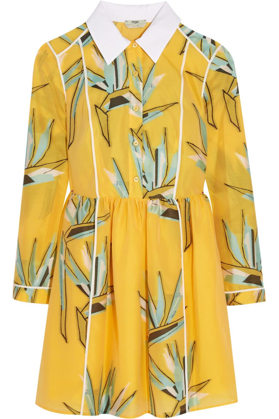 Fendi Cotton-Blend Jacquard Mini Dress, Marigold, Women's, Size: 36