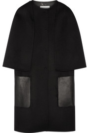 Leather-trimmed wool-felt coat
