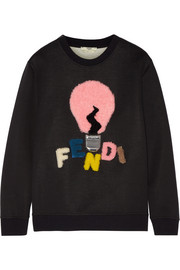 Fendi Shearling-appliquéd cotton-blend jersey sweatshirt