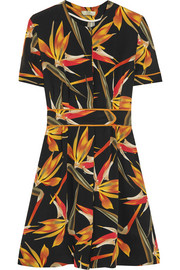 Bird Of Paradise printed silk-cady mini dress