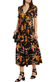 Bird Of Paradise printed silk-cady midi dress