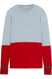 Mesh-paneled color-block cashmere sweater