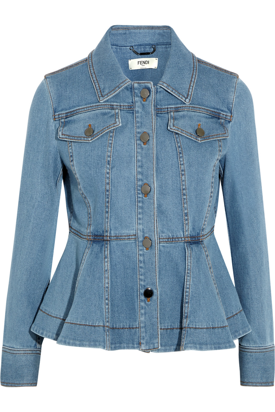 Fendi Stretch-Denim Peplum Jacket, Light Blue, Women's, Size: 40