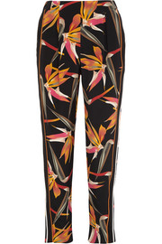 Bird Of Paradise printed silk tapered pants