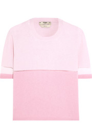 Fendi Mesh-paneled color-block cashmere-blend sweater