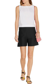 Bow-embellished wool and silk-blend gazar shorts