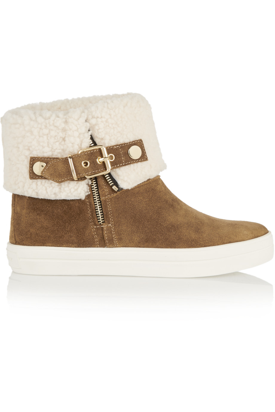 Burberry London London Shearling-Lined Suede Boots, Tan, Women's US Size: 4.5, Size: 35