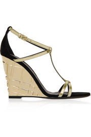 London metallic leather and suede wedge sandals