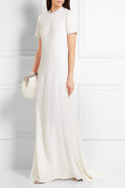 Organza-trimmed wool-crepe gown