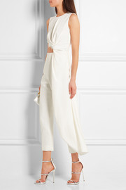 Draped cutout jersey and crepe jumpsuit