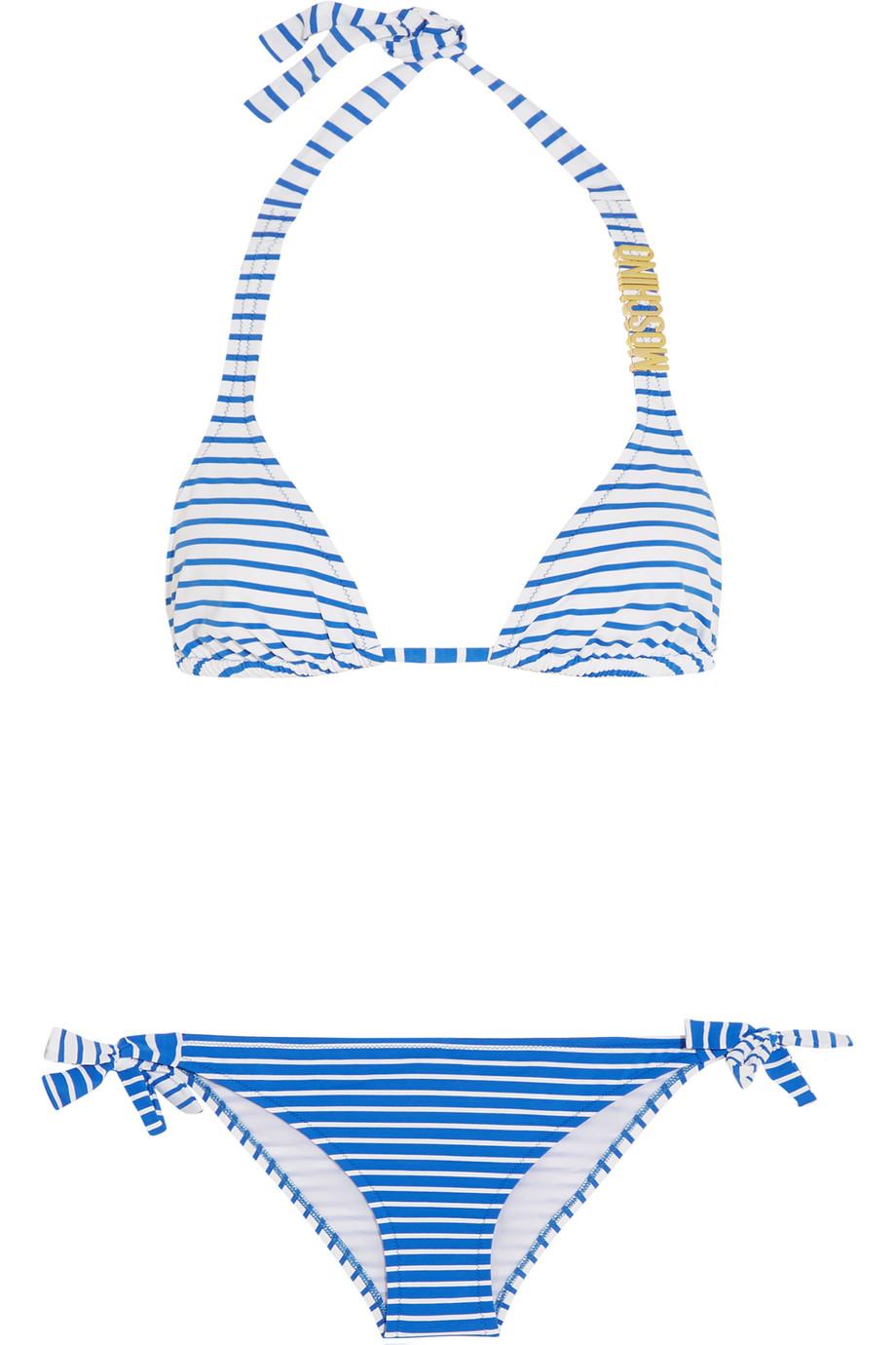 Moschino Striped Triangle Bikini, Bright Blue, Women's, Size: 3