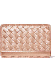 Metallic intrecciato textured-leather cardholder