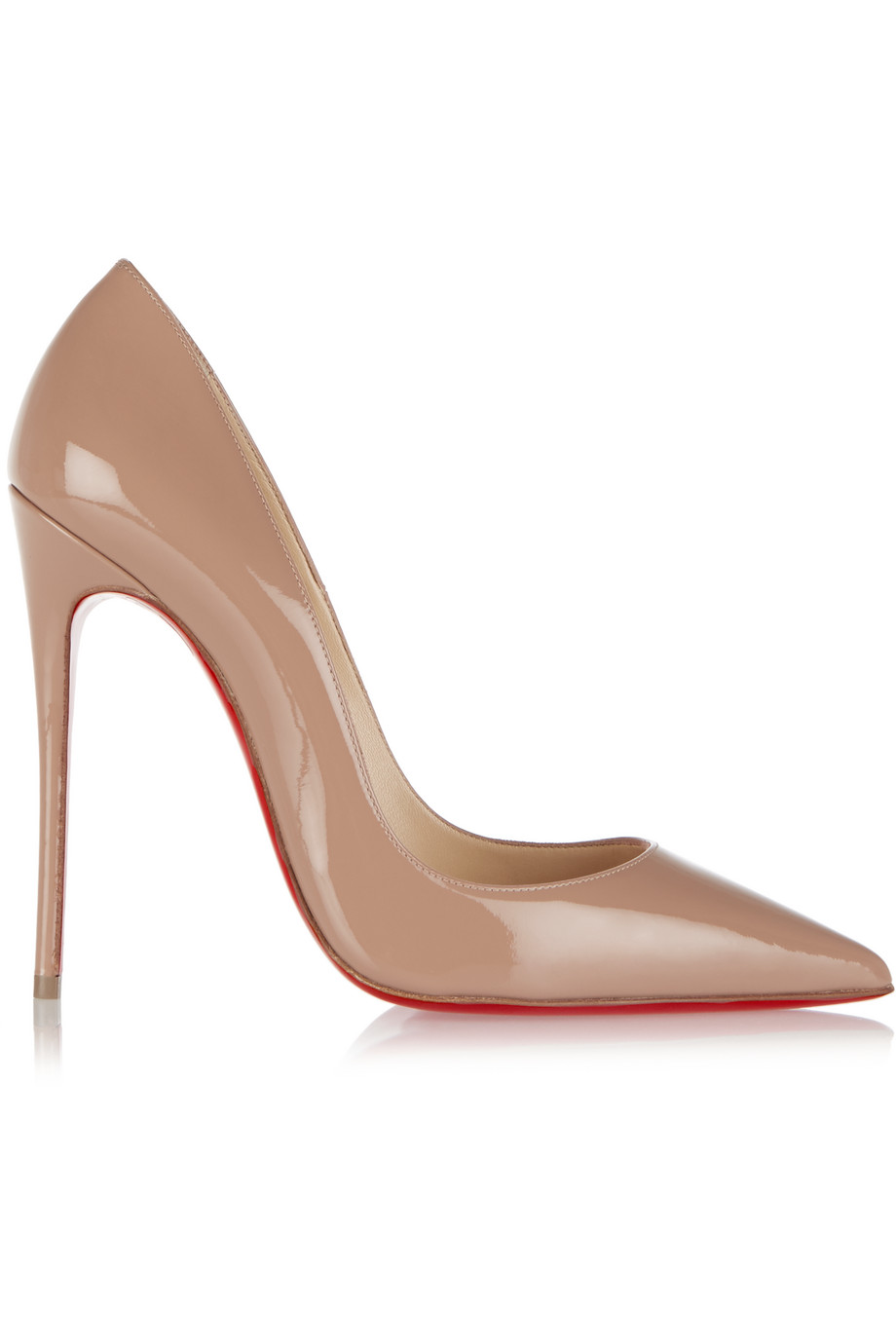 Christian Louboutin So Kate 120 Patent-Leather Pumps, Sand, Women's US Size: 7.5, Size: 38
