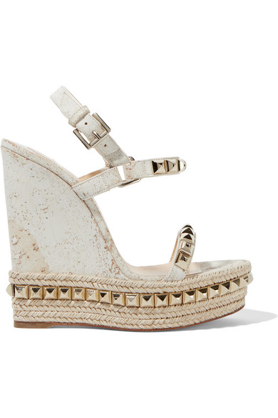 christian louboutin female 45883 christian louboutin cataclou 140 embellished cork wedge sandals offwhite