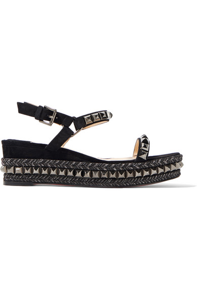 christian louboutin female 188971 christian louboutin cataclou 60 embellished suede and leather wedge sandals black