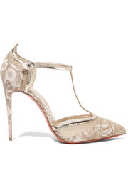 Mrs Early 100 printed faille, leather and mesh pumps