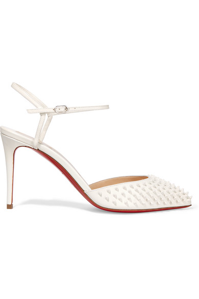 christian louboutin female 45883 christian louboutin baila 85 spiked leather pumps white