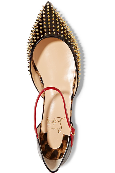 ae2703c0640 Christian Louboutin. Baila spiked patent-leather point-toe flats. £565.  Zoom In