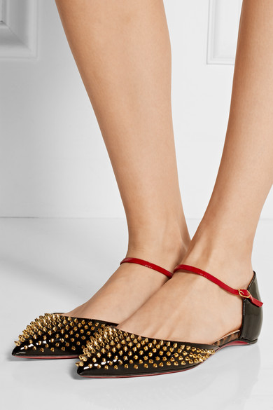 christian louboutin heels replica - Christian Louboutin | Baila spiked patent-leather point-toe flats ...