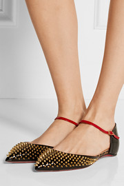 Christian Louboutin Baila spiked patent-leather point-toe flats