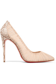 Christian Louboutin Follie Draperia 100  chiffon and printed faille pumps