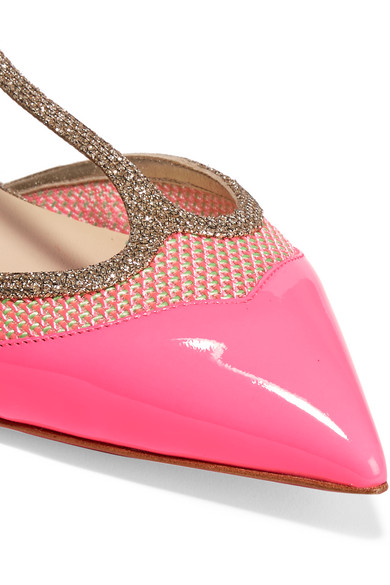 Christian Louboutin | Mrs Early glitter-trimmed neon patent ...