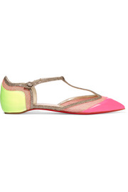 Mrs Early glitter-trimmed neon patent-leather and raffia point-toe flats