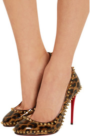 Dorispiky 100 studded leopard-print patent-leather pumps
