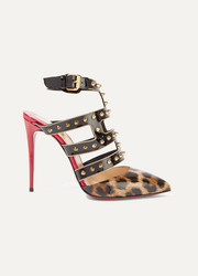 Christian Louboutin Tchicaboum 100 spiked leopard-print patent-leather pumps