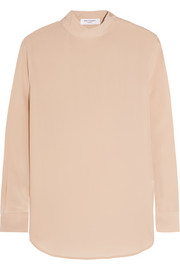 Curtis washed-silk turtleneck blouse