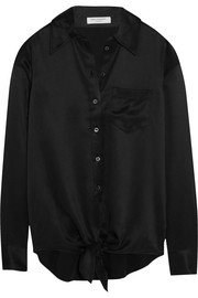 Luis tie-front silk-charmeuse shirt