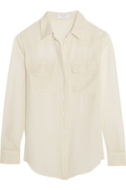 Slim Signature silk-georgette shirt